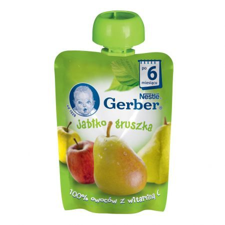 Гербер Пауч Плодова напитка десерт ябълка и круша 90 гр.